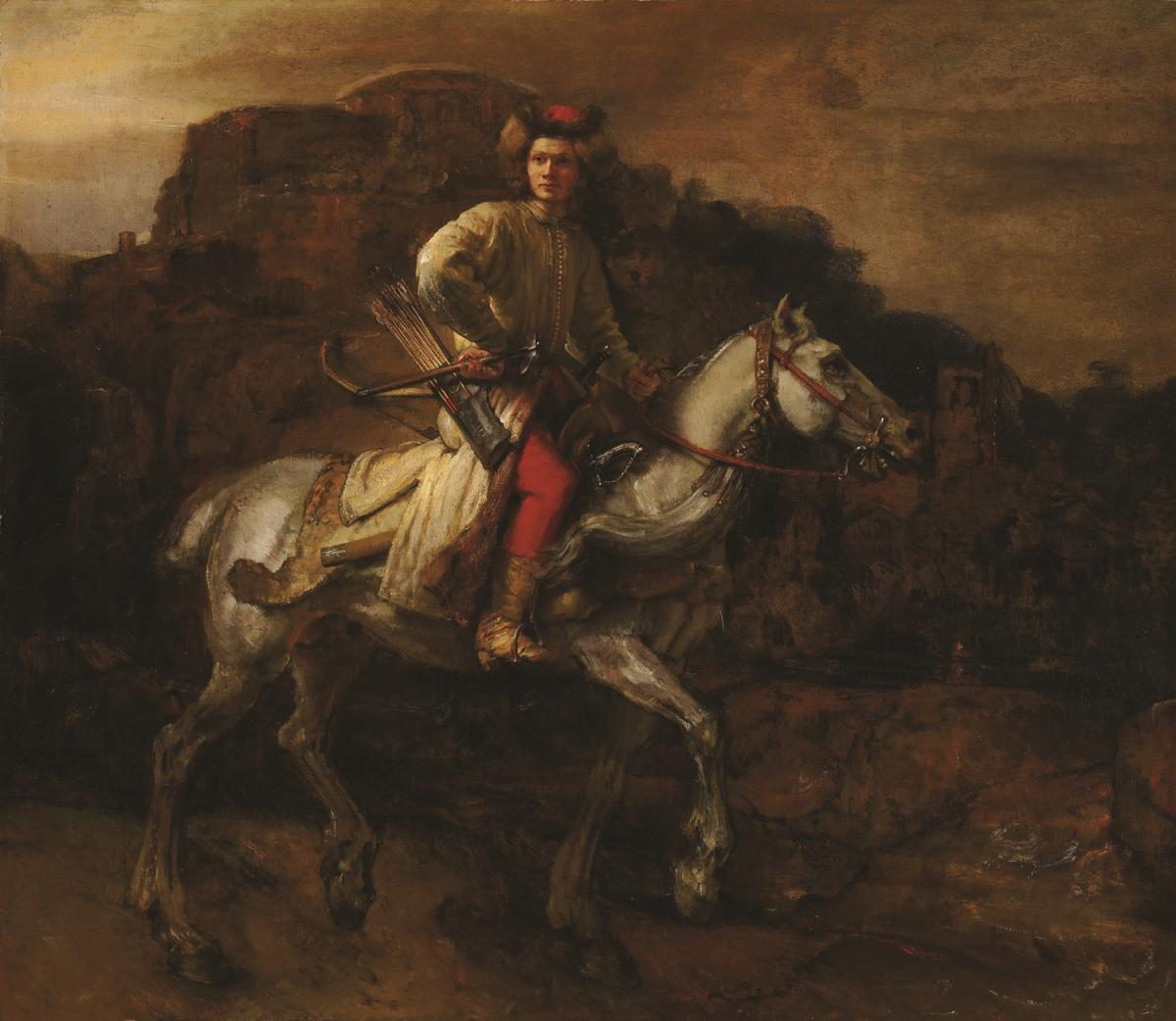 Oil painting of a man on a horse