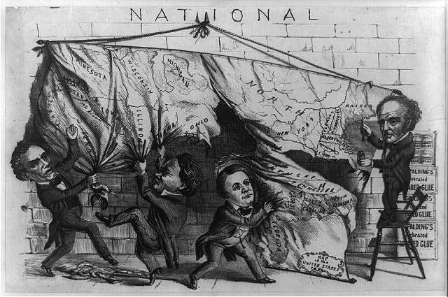 A political cartoon of the presidential candidates of 1860 dividing up the United States into their respective portions.