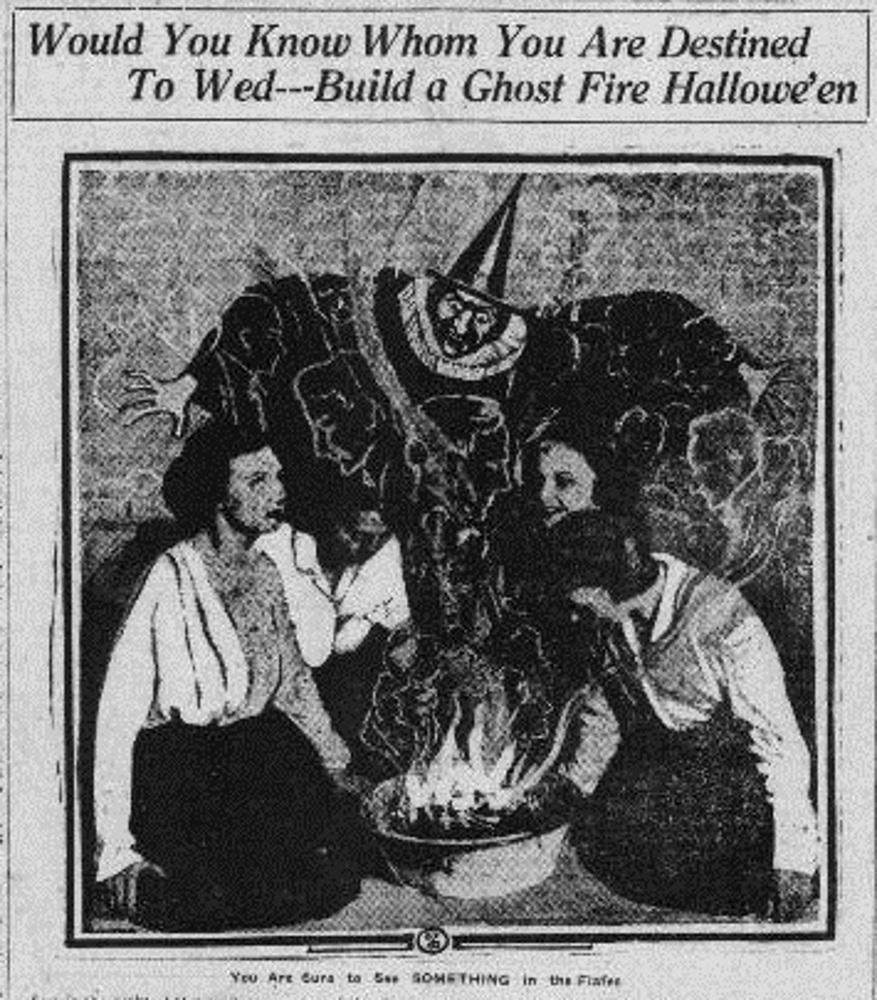 Would You Know Whom You Are Destined To Wed—Build a Ghost Fire Hallowe'en. Bisbee Daily Review.
