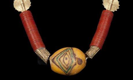 necklace with red and yellow beading