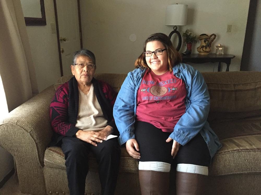 Sarah Martin (on right) prior to interviewing her grandmother, Senora Lumpkin.