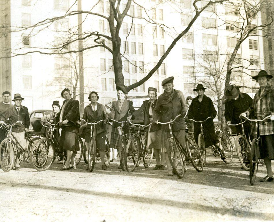 Cyclists in Boston, 1940's. Maurice Conn Collection.