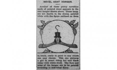 newspaper article showing coathanger