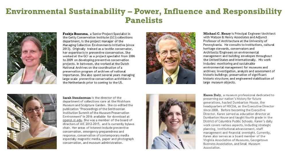 Panelists Biographies for the Environmental Sustainability Session