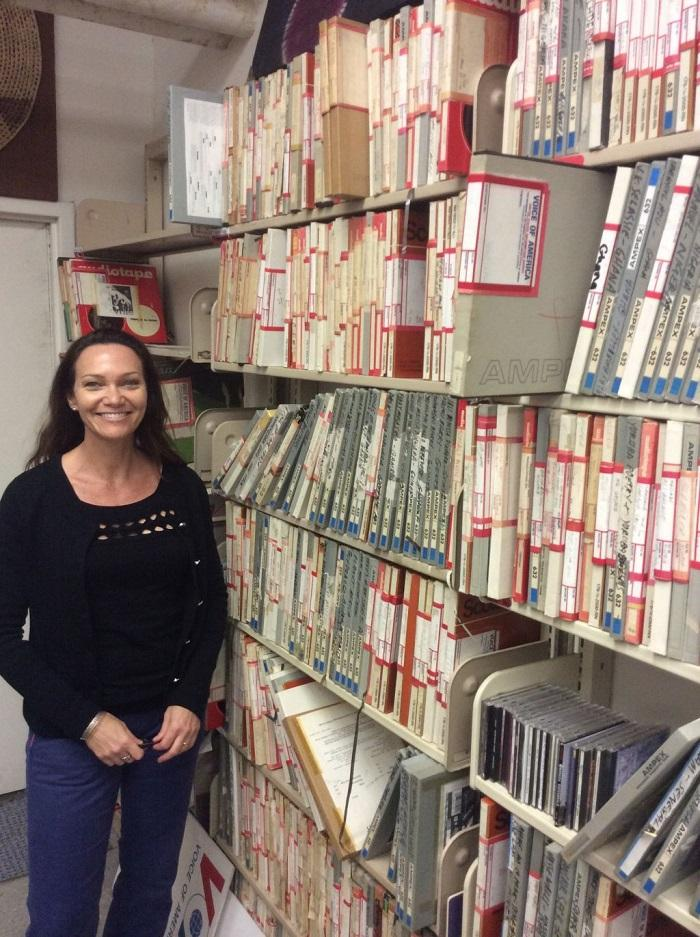 Broadcaster Heather Maxwell in the Leo Sarkisian Library, 2015