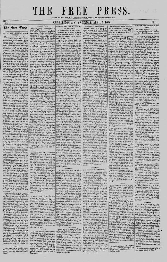 The free press. (Charleston, S.C.) 1868-186?, April 05, 1868, Image 1