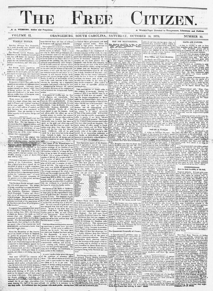 The free citizen. (Orangeburg, S.C.) 1874-1876, March 06, 1875, Image 1