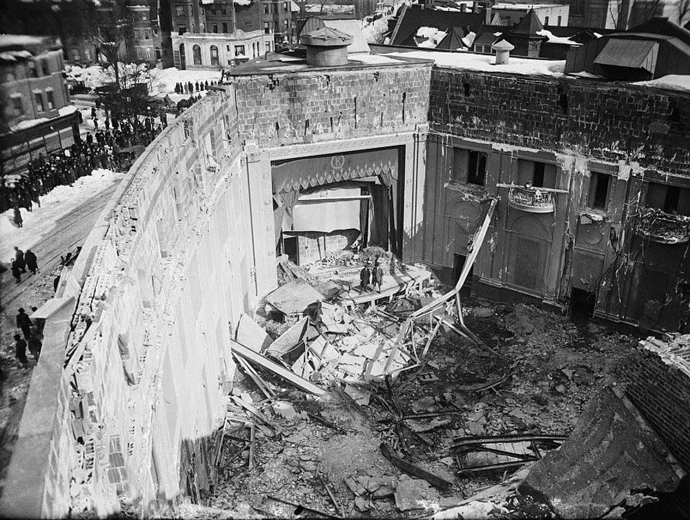 Interior of the Knickerbocker Theater after the collapse of the roof as a result