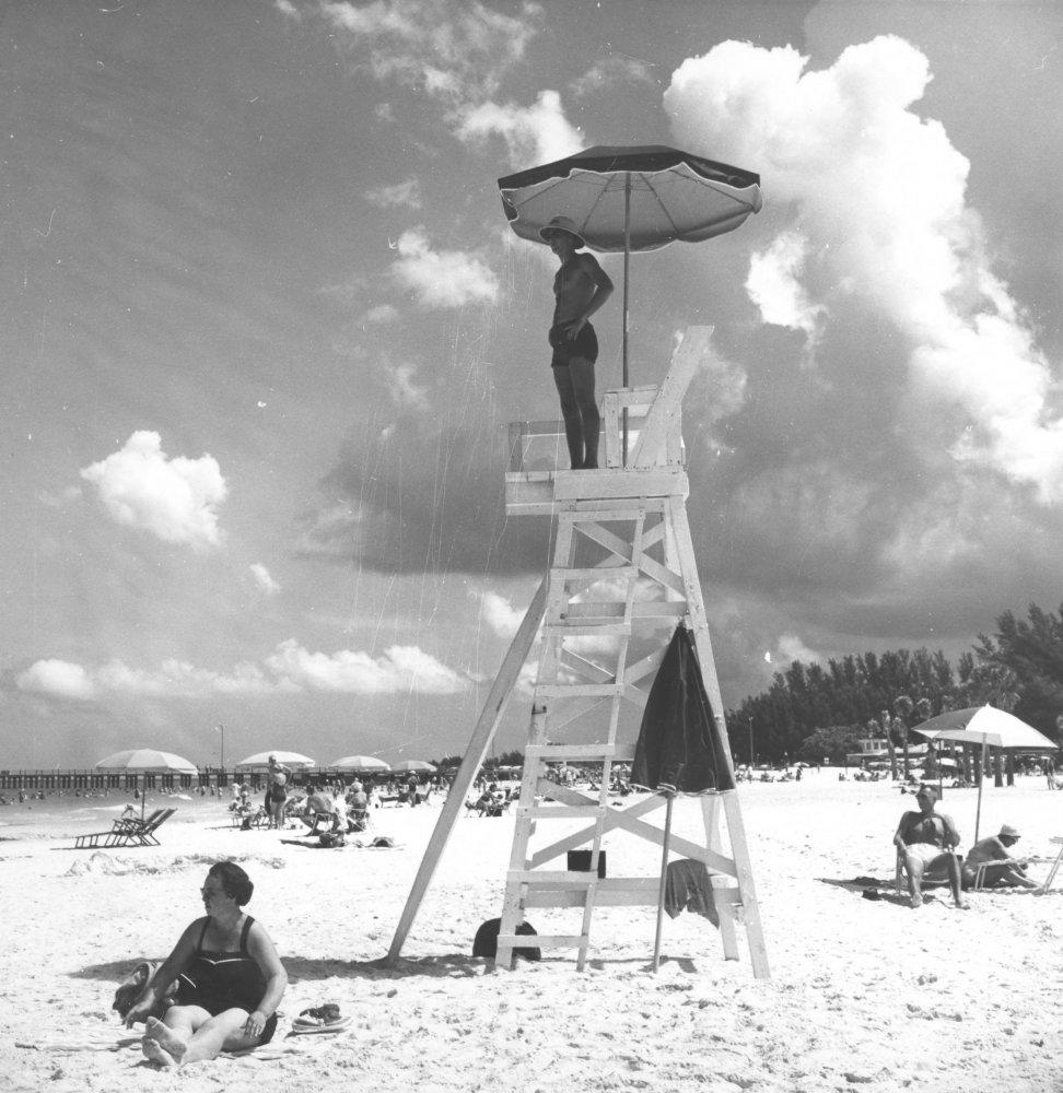 Lifeguard on beach by Pier 60: Clearwater, Florida