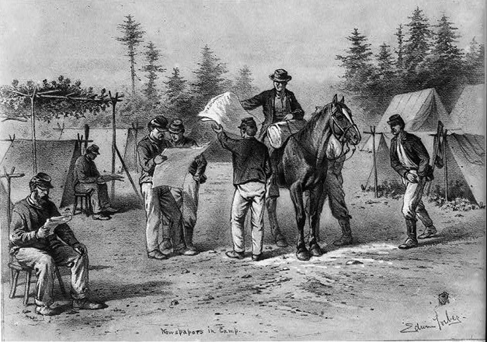 Newspapers in Camp, 1876. By Edwin Forbes.