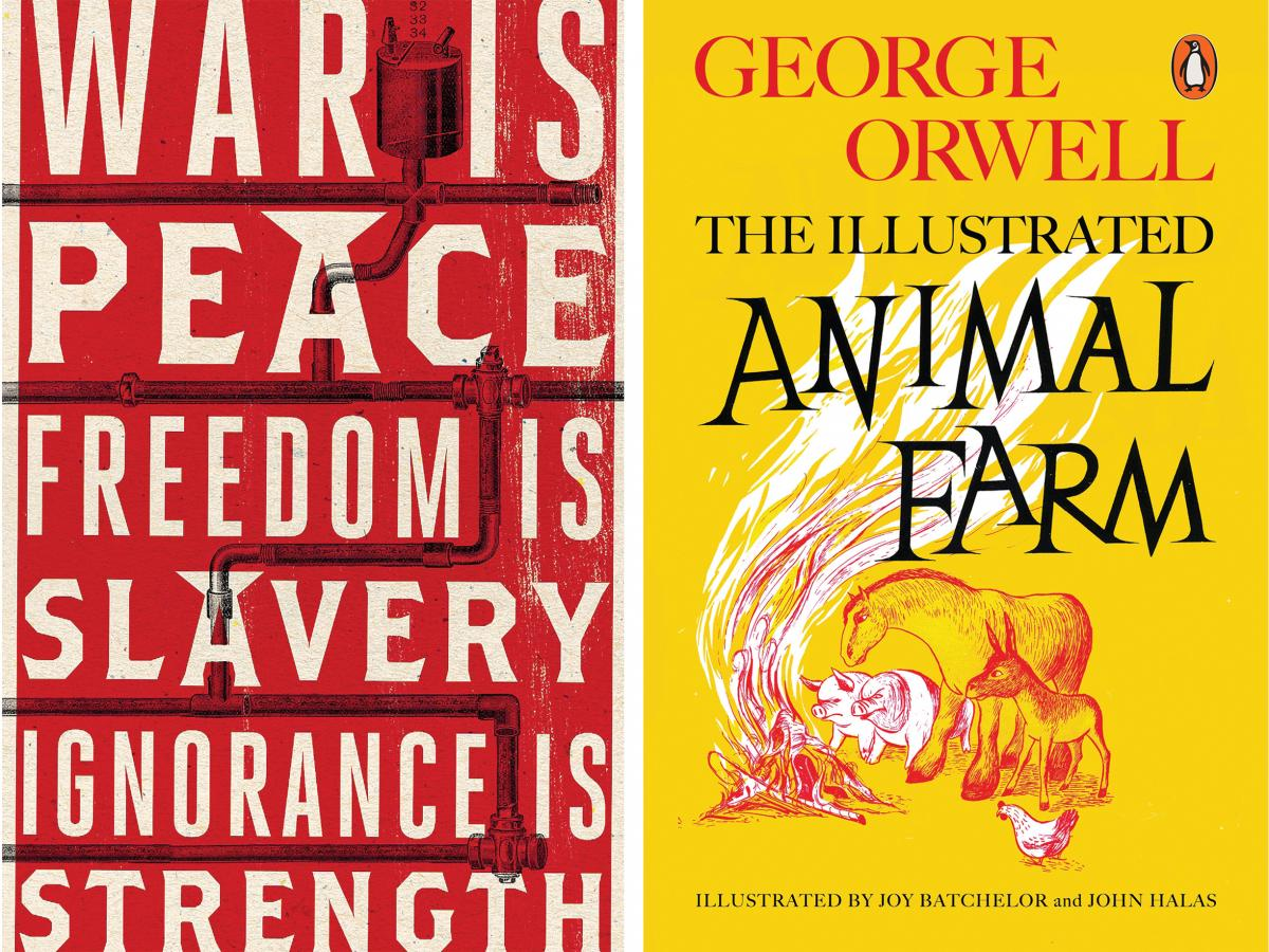 Covers of George Orwell's 1984 and Animal Farm