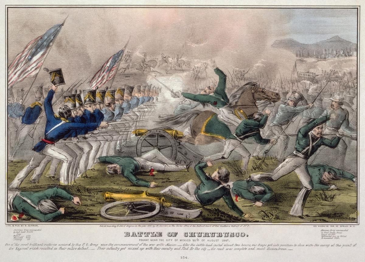 Etching of Battle of Churubusco in 1847