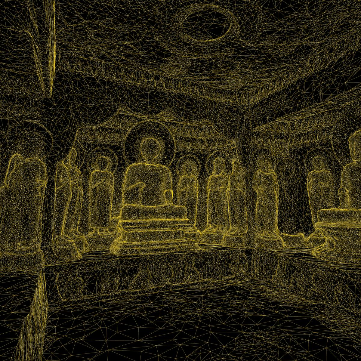 3-D rendering of a Buddhist temple