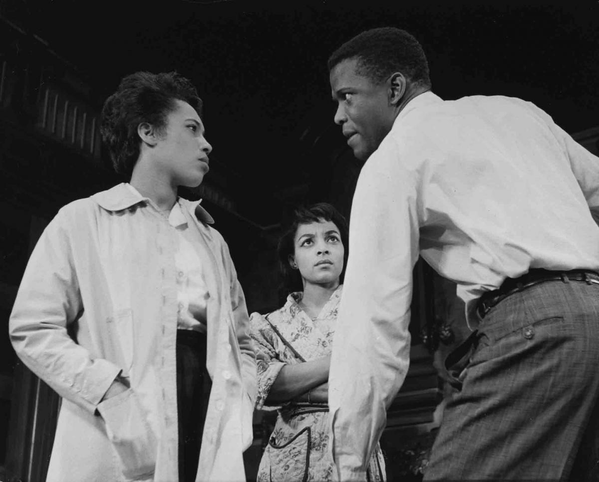 Sands, Dee, and, Poitier in the original 1959 Broadway production of A Raisin in the Sun
