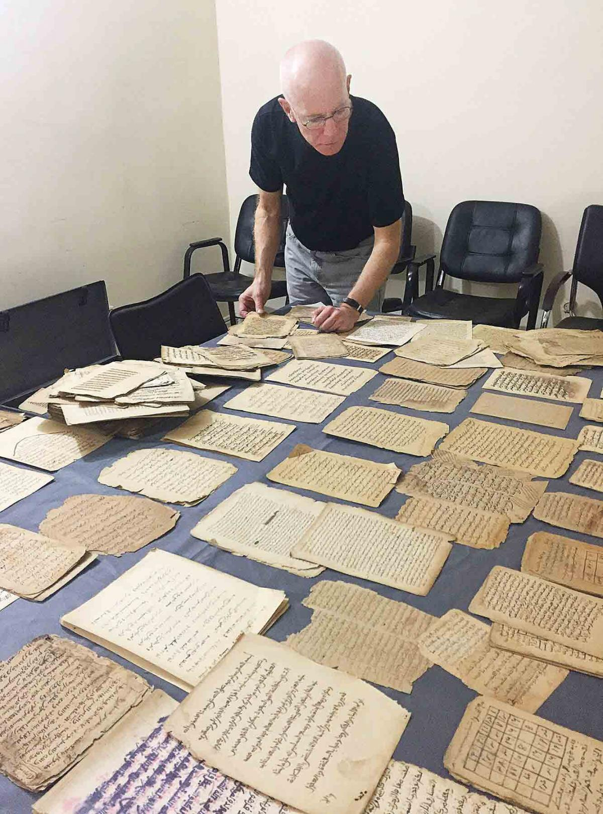 with manuscripts