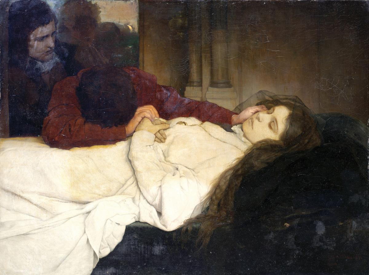 Painting of a young woman on her deathbed with mourners nearby.
