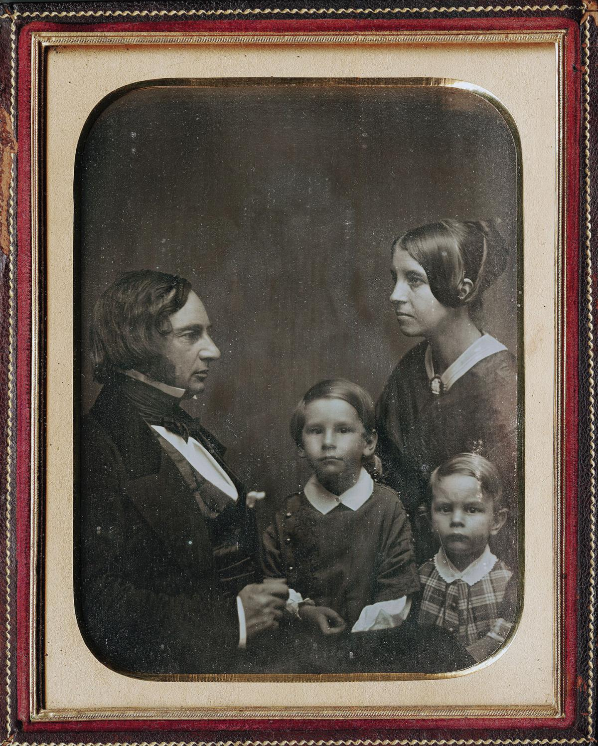 A portrait of the Longfellow family with sons Charles and Ernest.