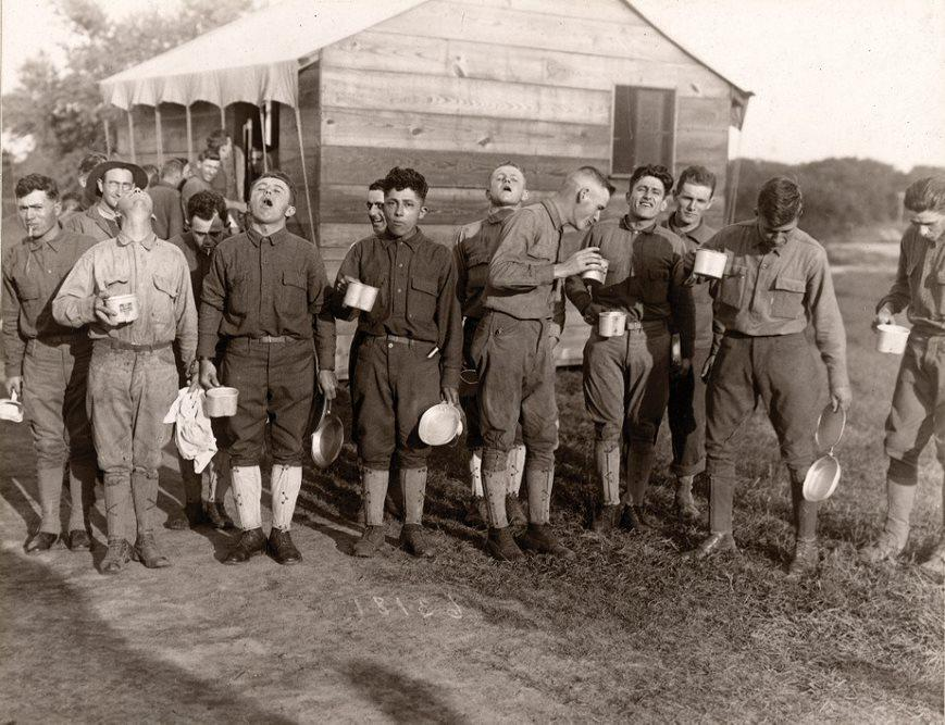 Men at Camp Dix gargle with salt and water to ward off the flu in 1918.