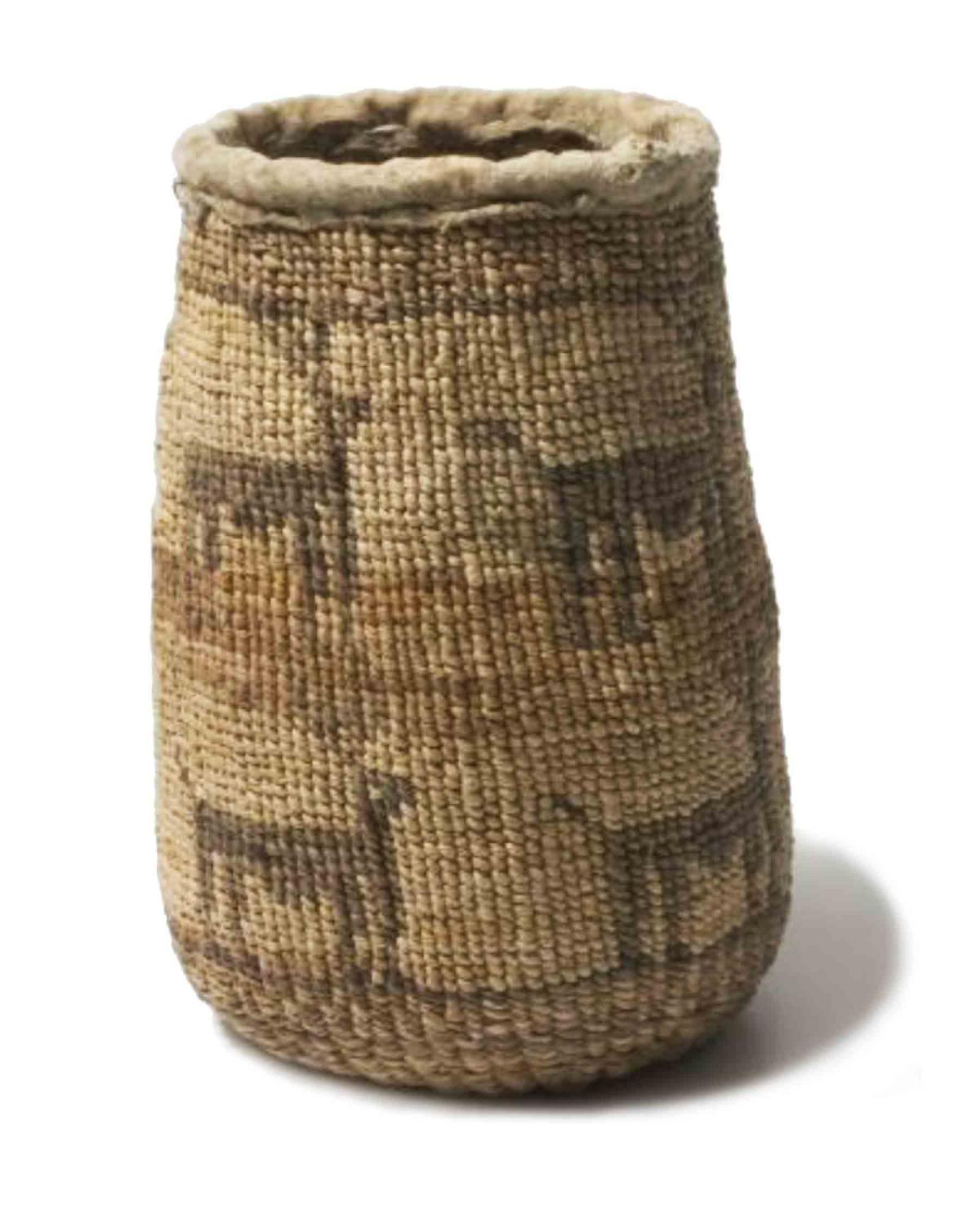 a woven bag or basket for gathering roots