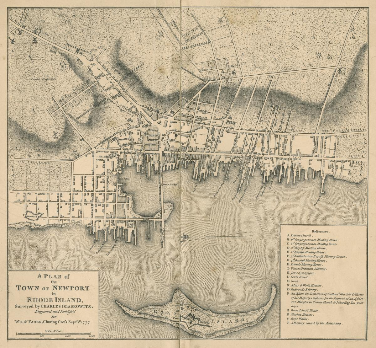 A Plan of the Town of Newport in Rhode Island (1777) shows the city when John A. Howe first arrived there and the British occupied it.