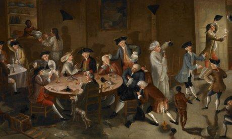 Sea Captains Carousing in Surinam, ca. 1752-1758. Oil on bed ticking by John Gre