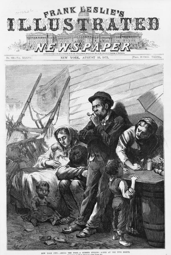 Newspaper Illustration of family in distress