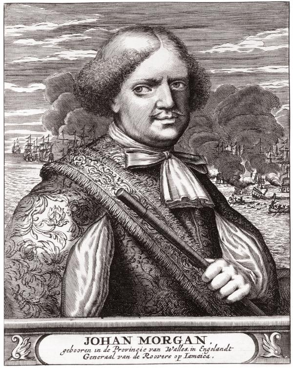 Engraving portrait of a man, Sir Henry Morgan