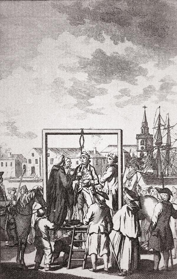 Engraving of a crowd surrounding a man with a noose around his neck