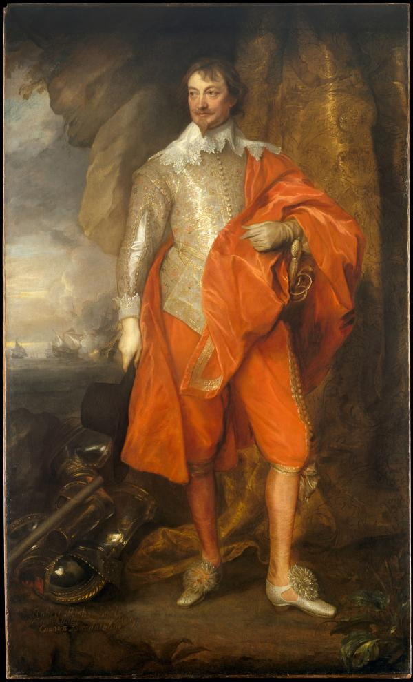 Painting of a 17th century man in golden clothing and orange cape