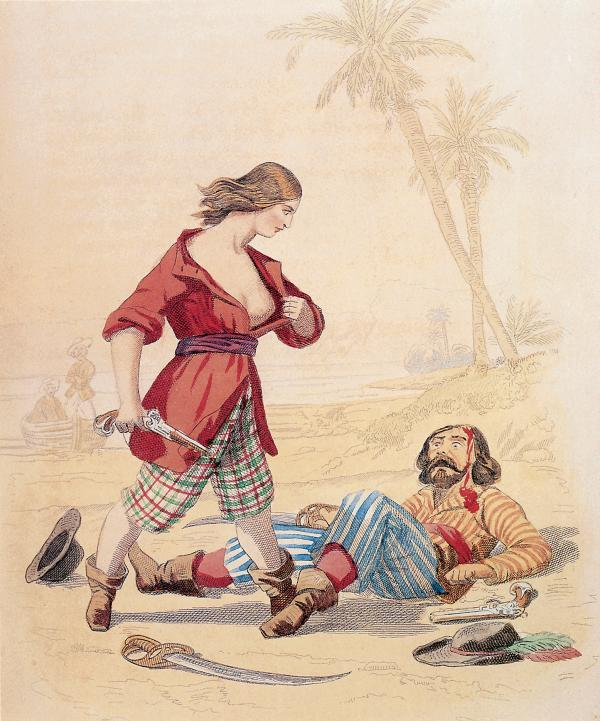 Illustration of woman standing over injured man, exposing herself to him