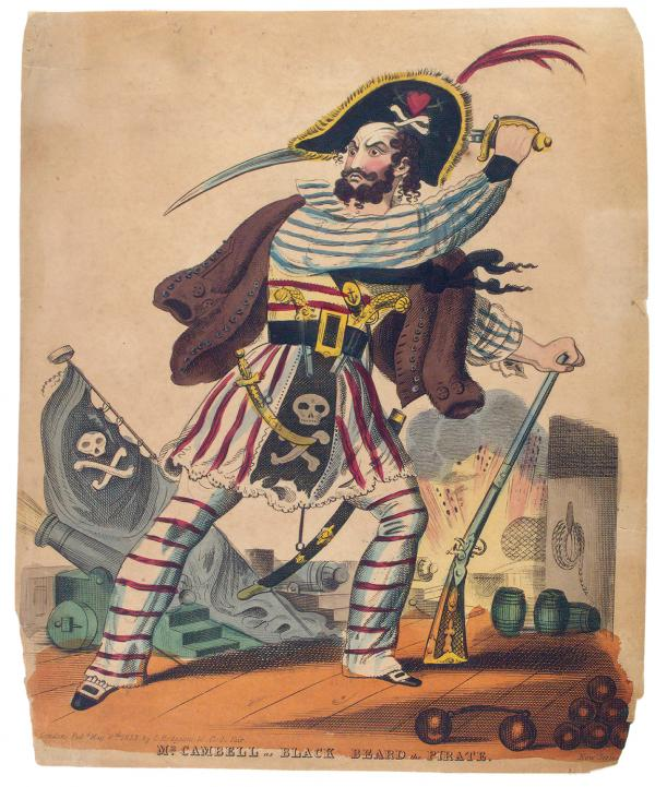 Illustration of a bearded pirate preparing to swing a sword