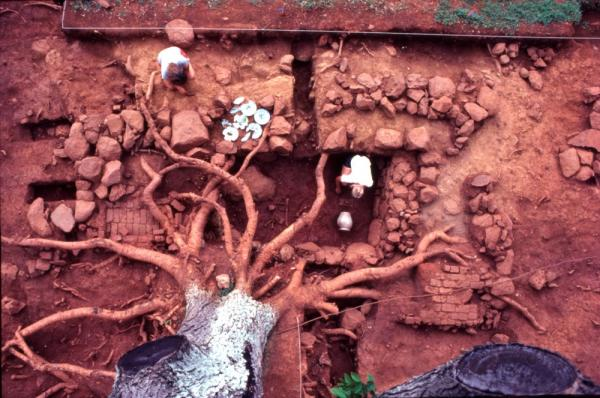 Early 1980s excavation of a slave dwelling built ca. 1780s