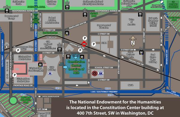 Map of the NEH's location at Constitution Center, which is at 400 7th Street