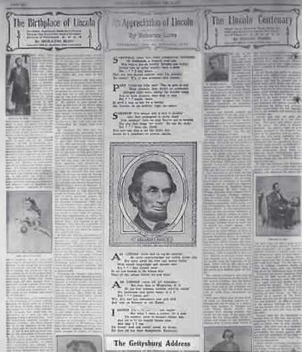 Photograph of Abraham Lincoln in a newspaper