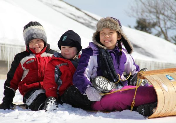 Children on a toboggan
