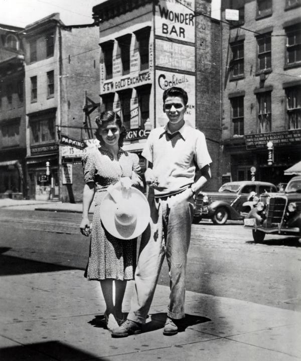 A young Frank Sinatra, with an unidentified woman, in Hoboken, New Jersey, c. 1930s.