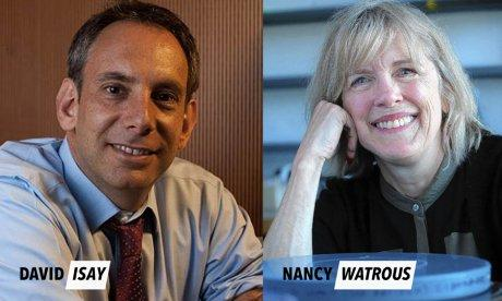 Portraits of keynote speakers David Isay & Nancy Watrous