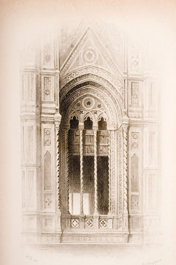 drawing of a church facade