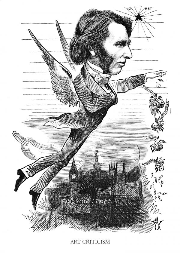 Illustration of a man with angel wings over a city