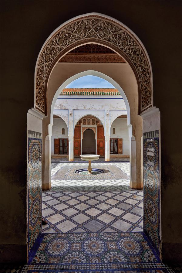 Looking into the courtyard at Bahia palace in Marrakech.