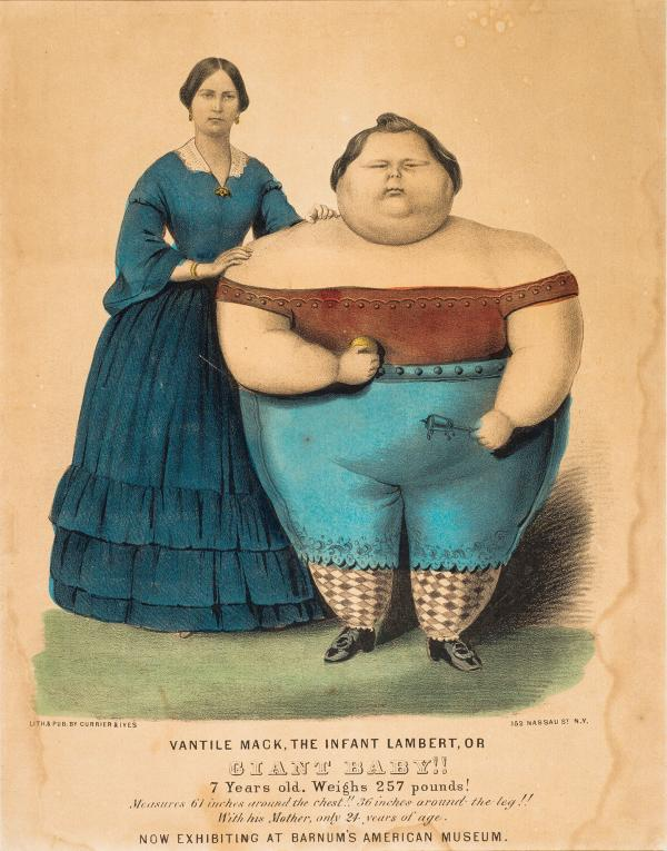 Poster for giant baby attraction at Barnum Museum