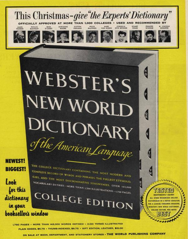 Ad for Webster's New World Dictionary of the American Language