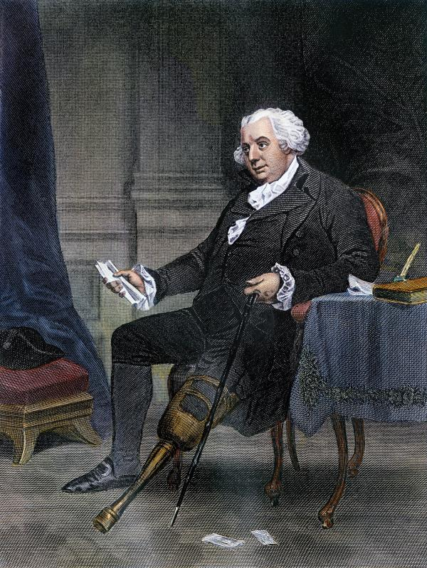Etching of Gouverneur Morris showing his peg leg