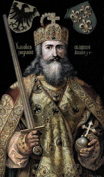 Charlemagne in full regalia, sword in hand