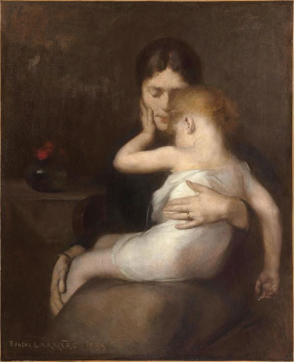 Painting of a mother holding her sick child.