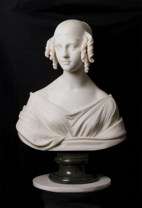 A marble bust of Fanny Appleton.