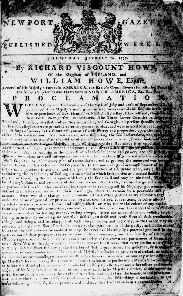 The first page of the first issue of John A. Howe's Newport Gazette published on January 16, 1777 and available in Chronicling America.