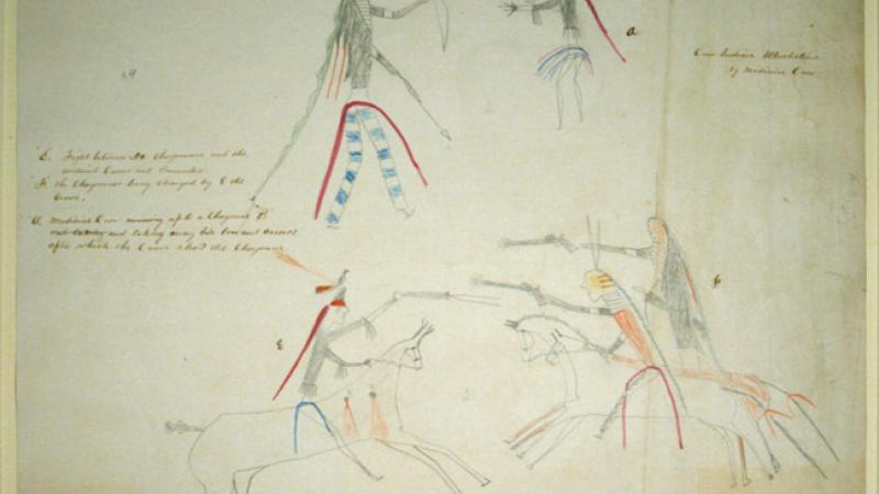 Crow Indian ledger drawing of a Medicine Crow running up to a Cheyenne and taking away his bow and arrows