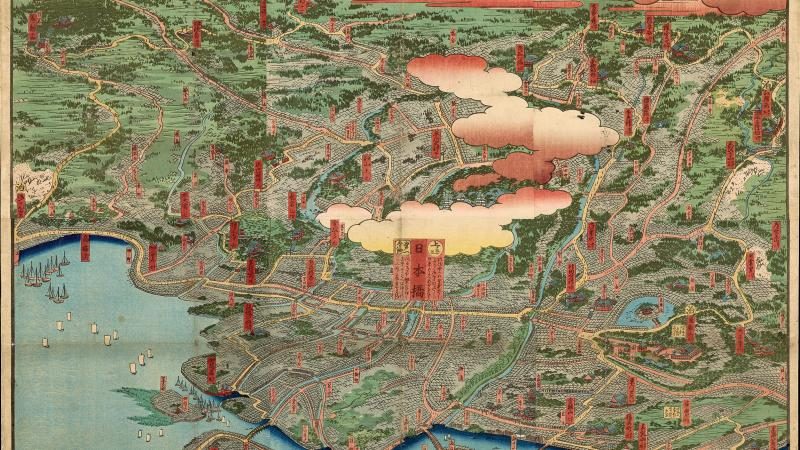 A color drawing of Edo, Japan, from a bird's-eye perspective.