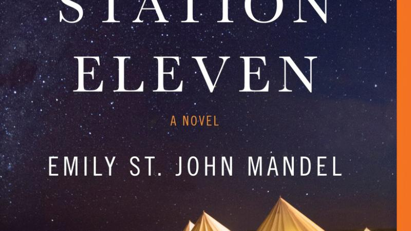 "Promotional flyer for Emily St. John Mandel's book, ""Station Eleven."""